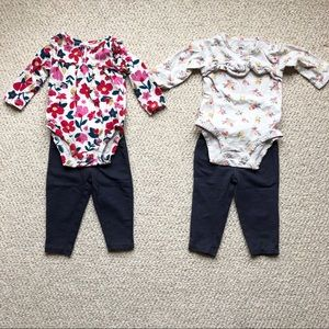 Set of 2 Baby Girl Matching Onesie Outfits